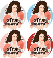 curly naked girl with boxing gloves set of stickers