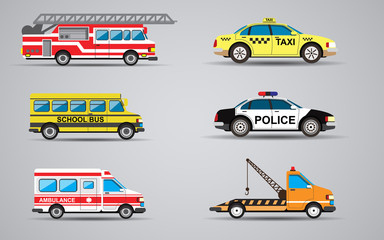 Vector set of the isolated transport icons. Fire truck, ambulance, police car, school bus, taxi