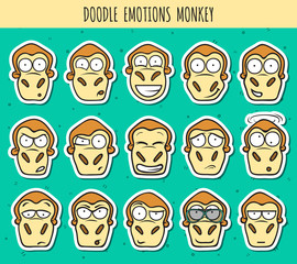 Set 15 doodle sticker heads of monkeys with different emotions.