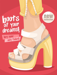 poster fashionable shoes white and yellow