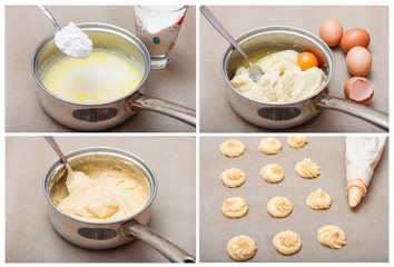 step by step for the preparation of choux pastry eclairs. collage. saucepan with milk, flour and eggs, pastry bag with dough and profiteroles on baking paper. recipe from choux pastry profiteroles