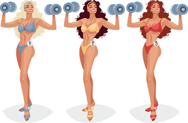 Three sports girls with dumbbells