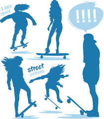 Girls skaters silhouettes blue set