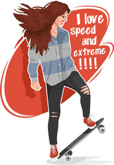 I love speed and extreme girl with skateboard sticker