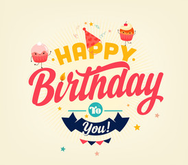 Happy Birthday Typographical Card