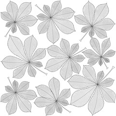 Wall Mural - contoured chestnut leaves