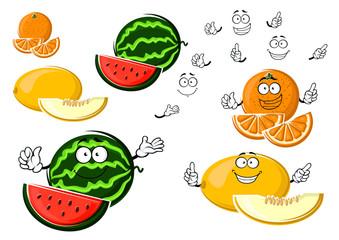 Ripe melon, orange and watermelon fruits