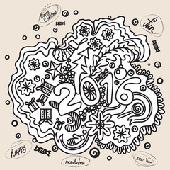 2016 year hand lettering and doodles elements background. Hand drawing Merry Christmas sketch vector illustration.