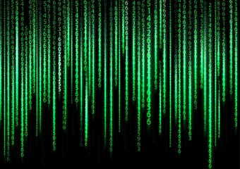 Technology binary background. Binary on green background