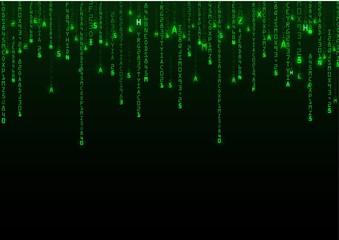 Technology binary background. Binary on green background