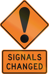 Road sign assembly in New Zealand - Signals changed.
