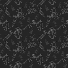 Tattoo machines and ink pattern. Black