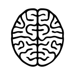 Human brain line art icon for app and website