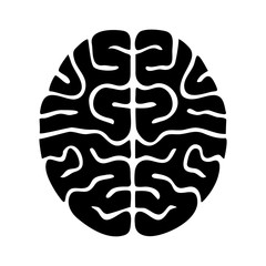 Human brain flat icon for app and website