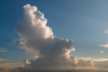 High cloud column in sunset light