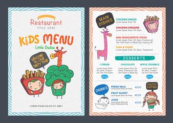 Cute  kids menu vector template