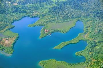 Aerial view of a lagoon Bocas del Toro Panama