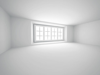 Abstract Empty White Room With Window