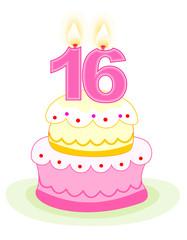 Sweet 16 birthday cake on white