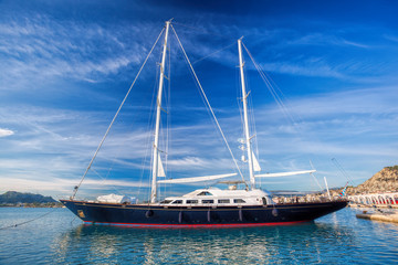 Luxury yacht parking in marina on Zakynthos island, Greece