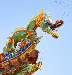 The dragon of decoration closeup for temple