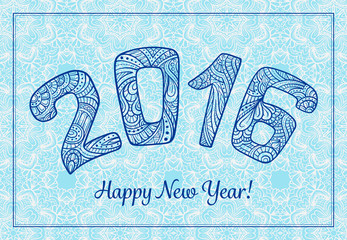 New Year 2016 lettering in zendoodle style