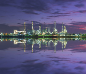 Tanker Oil refinery at twilight