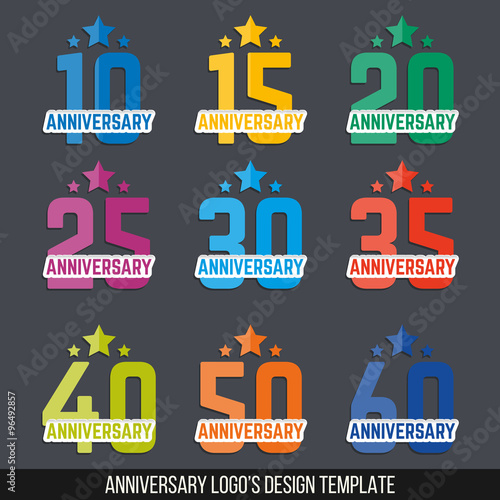 Vector Set Of Anniversary Color Signs Symbols 10 15 20 25