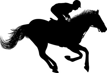 Drawing of the silhouette of the jockey on horseback, horse rides