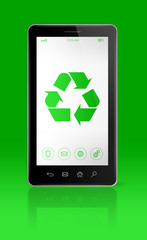 Smartphone with a recycling symbol on screen. environmental cons