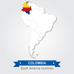 Colombia. All the countries of South America. Flag version.