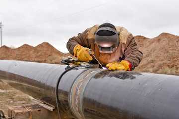 Welding works on gas pipeline
