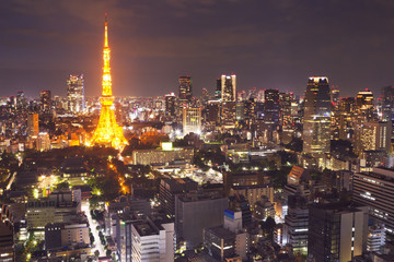 Tokyo, Japan skyline with the Tokyo Tower at night