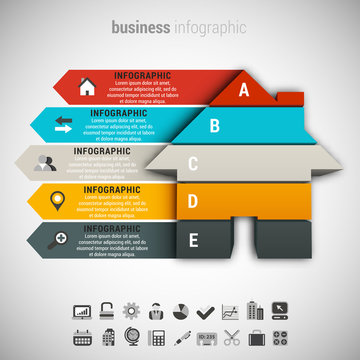 Business Infographic made of house.