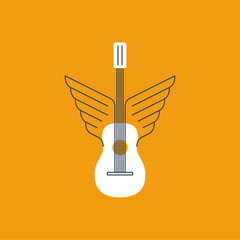Winged guitar. Music lessons, course or school.