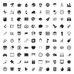 education 100  icons set for web