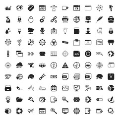 seo 100 icons set for web
