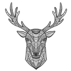 Hand-drawn portrait of a deer in the style of zentangle.