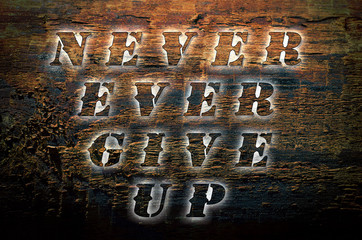 Sentence Never ever give up written on nature wooden background.