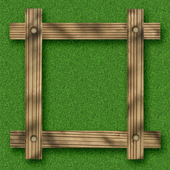 Brown wooden frame against a white background with green copy space in the centre.