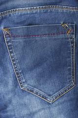 Blue jeans empty back pocket.
