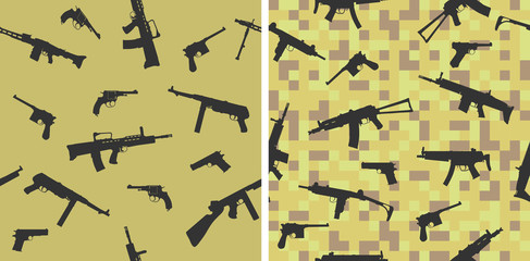 Seamless pattern with silhouettes of small arms.