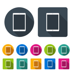 tablet icons set in the style flat design different color on the white background. stock vector illustration eps10