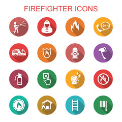 firefighter long shadow icons