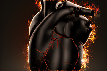 Burning heart. Closeup illustration