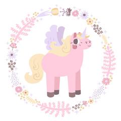 Unicorns vector background (pastel colors)
