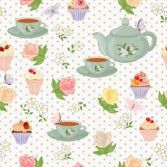 Vector seamless pattern with tea, roses, daisies, butterflies.