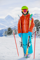 Ski, skier girl on the ski slopes