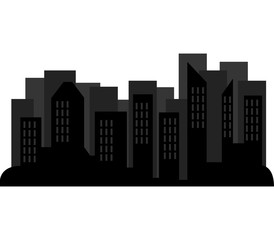 silhouette of cities and skyscrapers