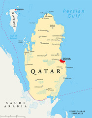 Qatar political map with capital Doha, national borders, important cities, salt pans and reefs. English labeling and scaling. Illustration.